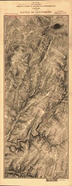 """Scale 1:12,000. LC Civil War Maps (2nd ed.), 357.2 """"For sale by Woeltje & Cutting, 115 Pearl Street, New York."""" Copyright no. 18291, Aug. 3, 1888. This map is based on Gouverneur K. Warren's map of the Gettysburg battlefield (see entry no. 353.5), but with the addition of hachures. Names of land owners are overprinted in red. Troop positions are not noted. Description derived from published bibliography. Available also through the Library of Congress web site as raster image."""