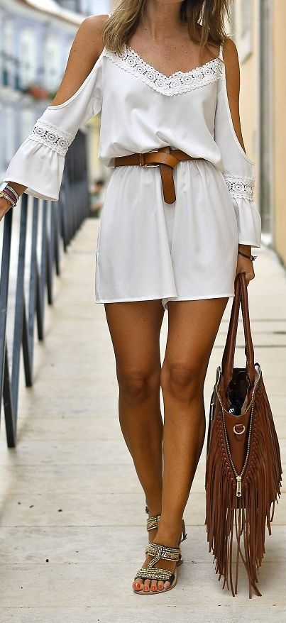 Cold Shoulder Lace Romper