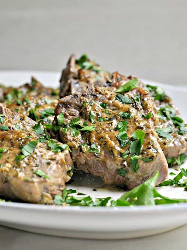 Roasted Lamb Loin Chops Served