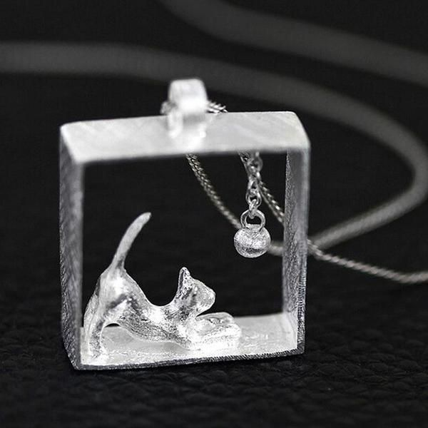 Sterling Silver Cat in a Box Necklace (2 colors)