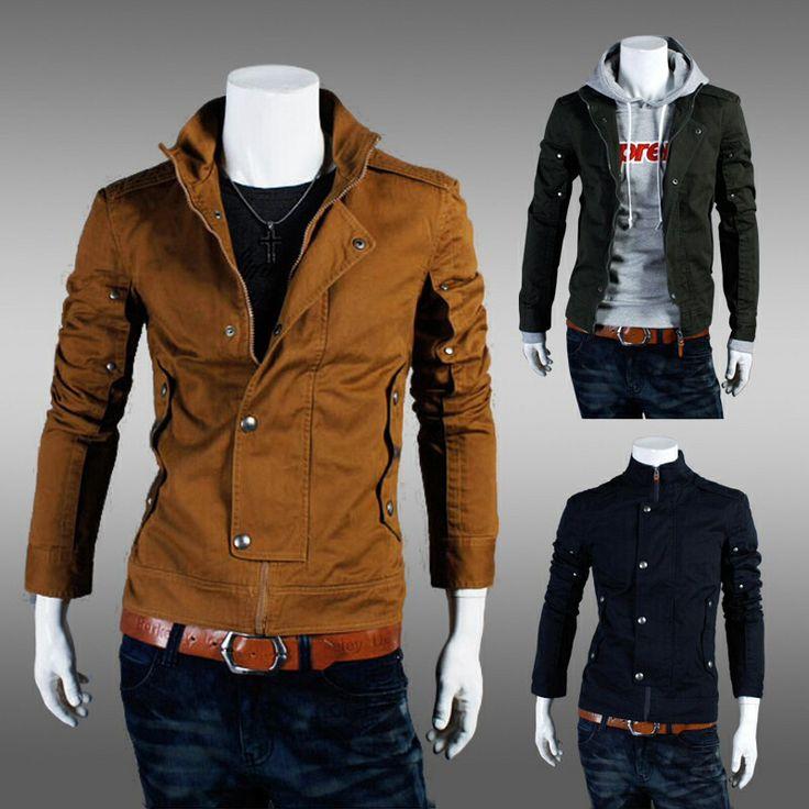 Off Stylish Casual Slim Fit Zip Coat Jacket Tops