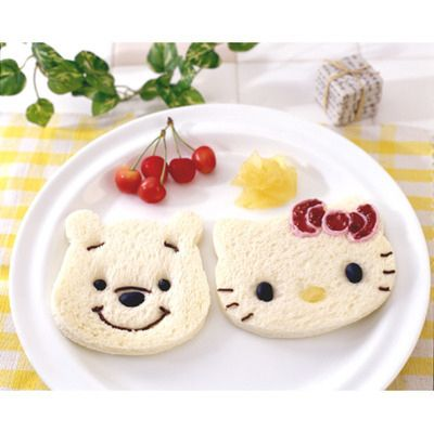Hello Kitty and Pooh Bear sandwiches