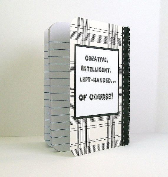 Lefty notebook Left handed notebook Ivory black plaid