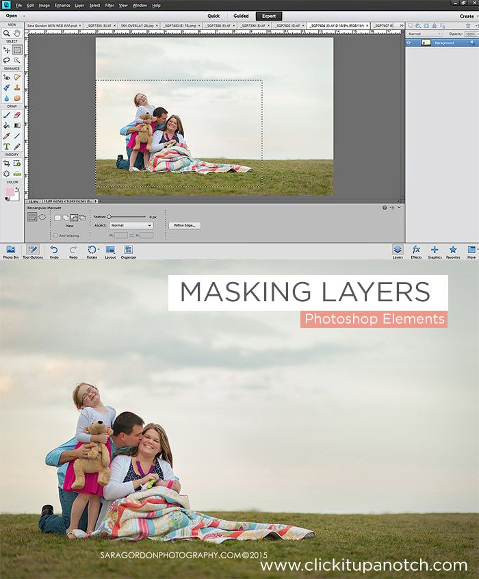 Masking Layers in PSE by Sara Gordon via Click it Up a Notch Head swap in PSE