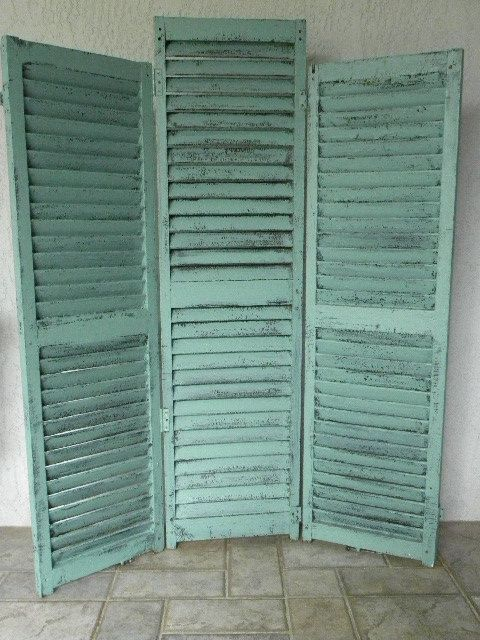 Vintage Shutters Screen And Room Divider Turquoise Sit