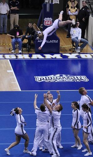 BYU Cheerleaders by coachsingleton, via Flickr  cheerleading from Kythoni's Cheerleading: Utah Schools: BYU, Utah, UVU, Weber, USU (Aggies, Utes, Cougars) board  http://pinterest.com/kythoni/cheerleading-utah-schools-byu-utah-uvu-weber-usu-a/ m.at.10.1
