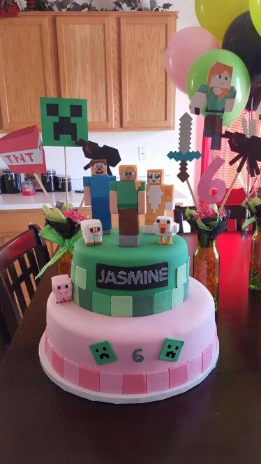 Minecraft Girl Cake Mickey Mouse Bday Minecraft