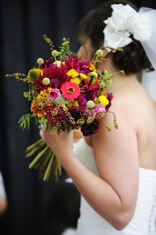 Hot brightly coloured summer wedding bouquet