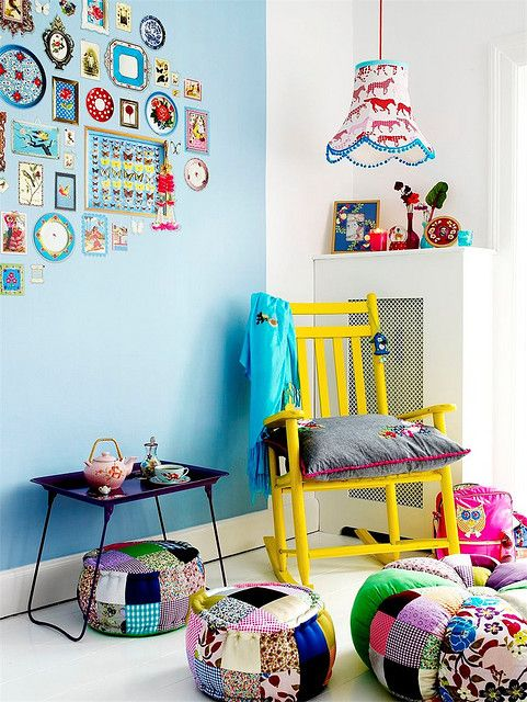 Eclectic room full of colors, colors, and more colors. Perfect for a kids room. #eclectic #room #home #decor #chair #wall #art