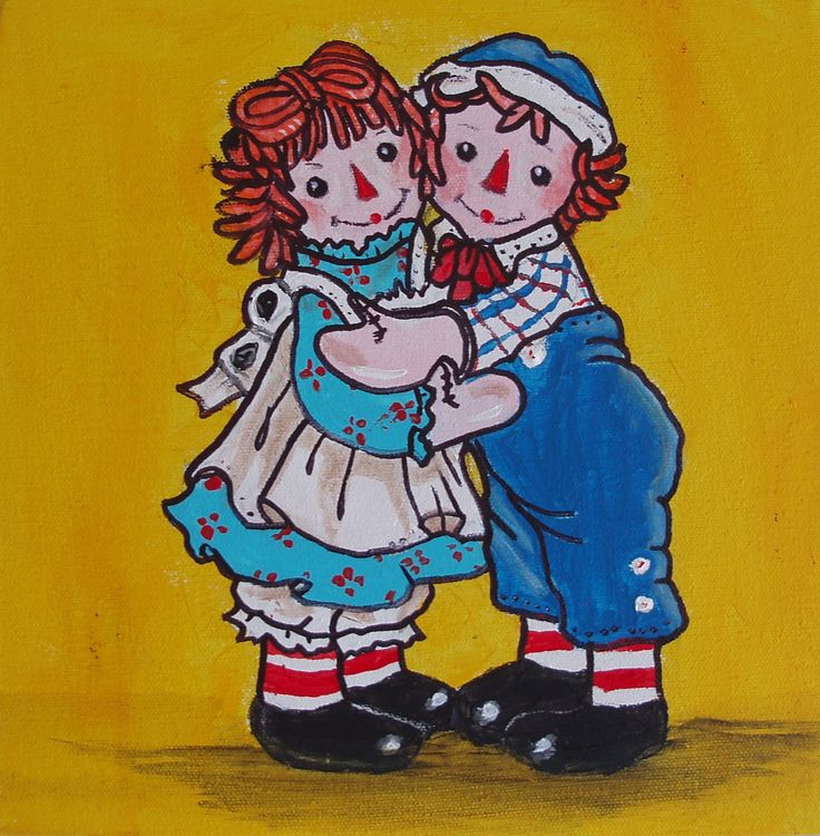 Raggedy Ann & Andy sharing a hug.  I have painted several different pictures of both Raggedy Ann and Andy, some with yellow background and some with red.
