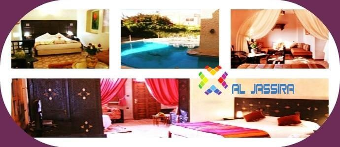 AL JASSIRA HOTEL - AL JASSIRA offers the highest standards of European hotels. It ensures a pleasant and personalized service with the direction of the legendary Moroccan hospitality. The hotel has 33 rooms with essential amenities such as spa, pool terrace, free WIFI.