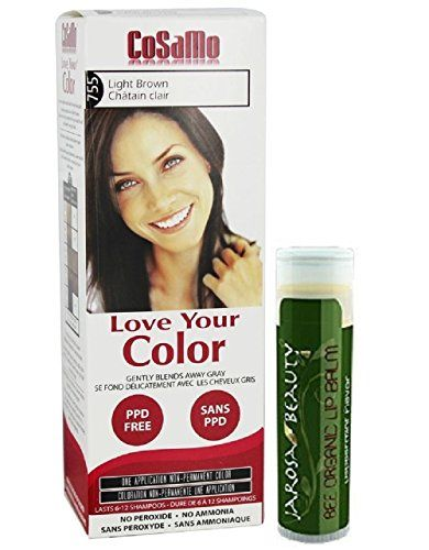 CoSaMo - Love Your Color Non-Permanent Hair Color #755 Light Brown - 3 oz with One Jarosa Beauty Bee Organic Peppermint Lip Balm 100% All Natural Deep Moisturizing USDA Certified Organic  //Price: $ & FREE Shipping //     #hair #curles #style #haircare #shampoo #makeup #elixir