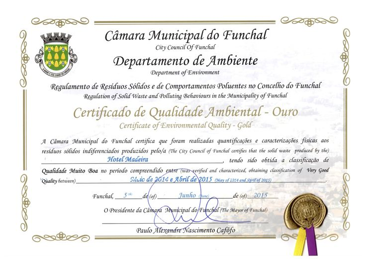 Hotel Madeira received a Certificate of Environmental Quality (rated Gold) attributed by the City Council of Funchal. We are very thankful for this important prize for all of us nowadays!  We love Funchal, we love our city!  #HotelMadeira #Funchal #Funchallovers #weloveourcity #Madeira #EnvironmentalQuality #Prize