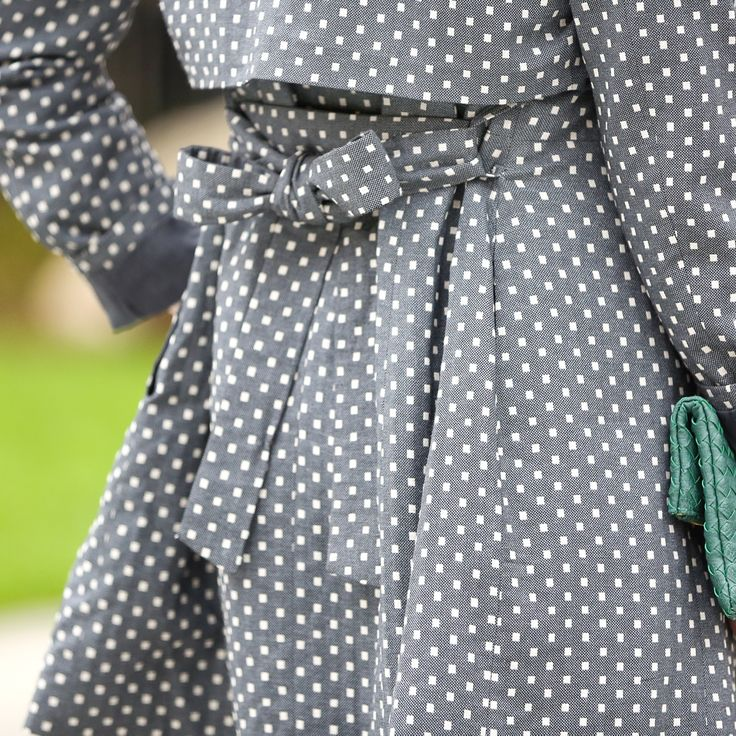 Rain, rain go away! Actually, if we get to wear this statement trench, let it rain! Stay stylish and dry in this chambray polka dot coat with a feminine back bow. Love this piece? Sign up for Stitch Fix to get boxes of on-trend fashion delivered straight to your door!