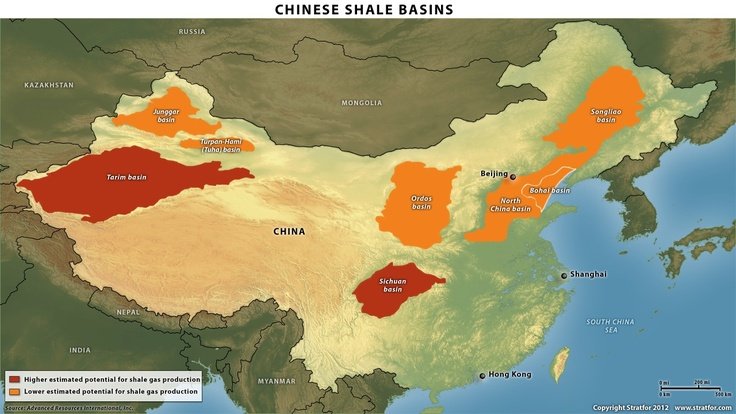 Principaux bassins d'extraction potentiel de gaz de schiste en Chine.