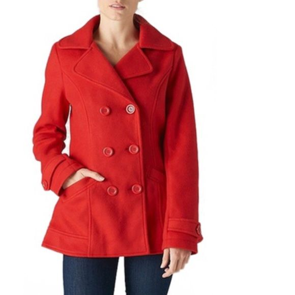 Beautiful Red Pea Coat - Size Small Beautiful Red Pea Coat - Excellent Condition Never Been Worn - I Have Very Long Arms & It's Too Short In The Arms For Me - I'm Sad To Part With It But I Hope It Makes Its New Owner Very Happy! Double-Breasted Design, Buttoned Front & Cuffs, Basic Collar, Two Front Pockets - Beautiful Coat! Jackets & Coats Pea Coats