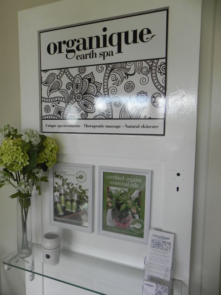 www.organiqueearthspa.com.au Organique Earth Spa - Mornington Day Spa experience. A recycled door with our beautiful branding in our waiting area...