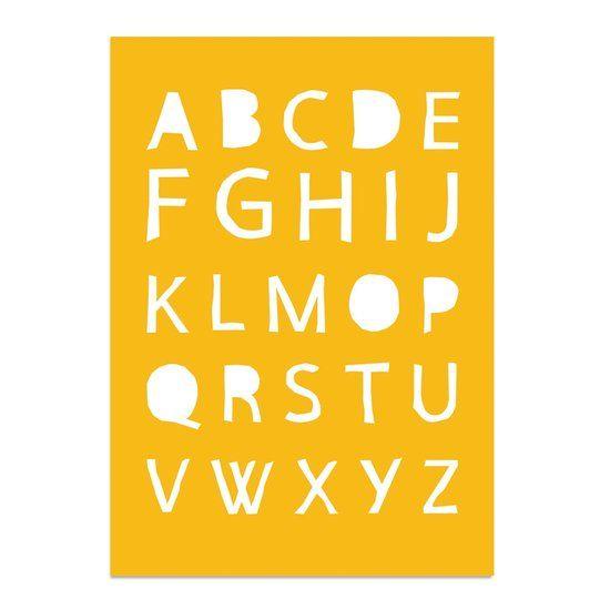 Kinderkamer poster - Babykamer - Decoratie - Alfabet ABC Poster - Geel - Okergeel - A4 formaat DesignClaud