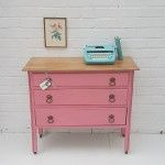 Upcycled vintage furniture. Pretty pink dresser / chest of drawers painted by Maisie's House. Leicester, UK