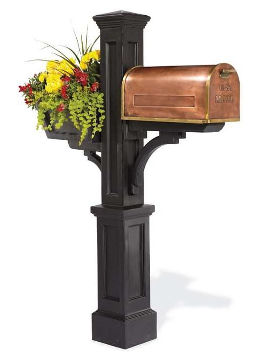 The Westbrook Mail Post makes a curbside statement in front of your home with it's distinctive copper and brass box nestled on a stately post with a decorative flower box for your beautiful foliage.