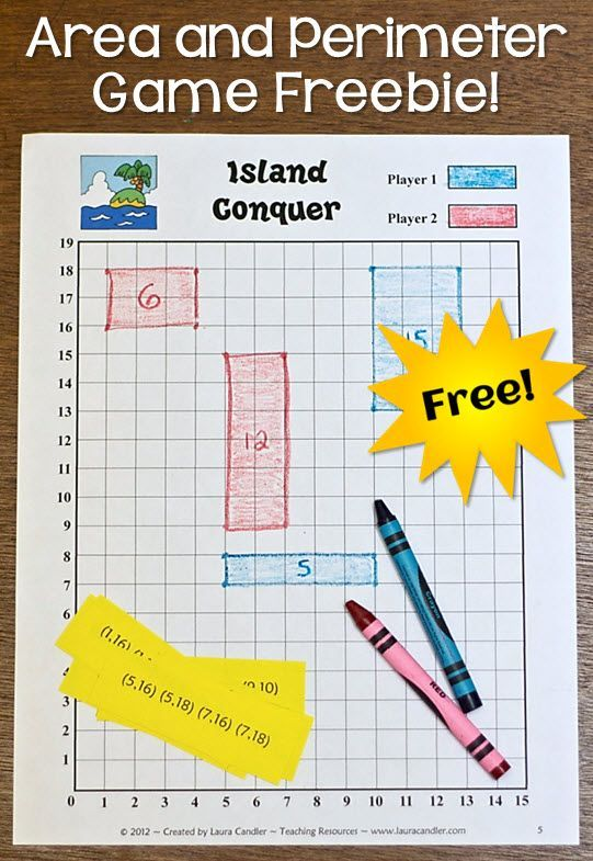 Free Island Conquer game for practicing area and perimeter skills