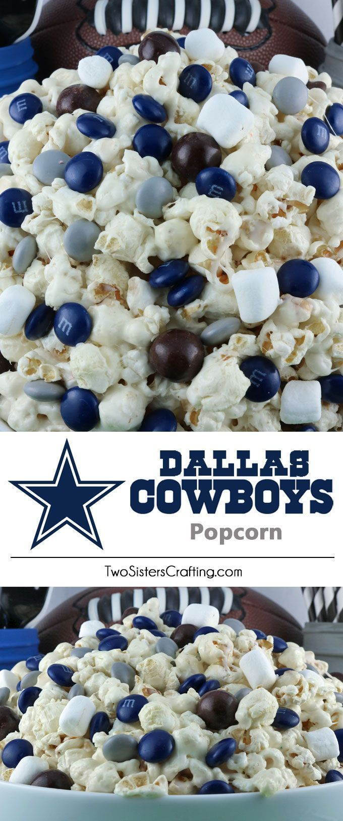 Dallas Cowboys Popcorn for those Dallas Cowboys fans in your life. Sweet, salty, crunchy and delicious and it is extremely easy to make. This delicious popcorn will be perfect at your next game day football party. a NFL playoff party or a Super Bowl party. Follow us for more fun Super Bowl Food Ideas.