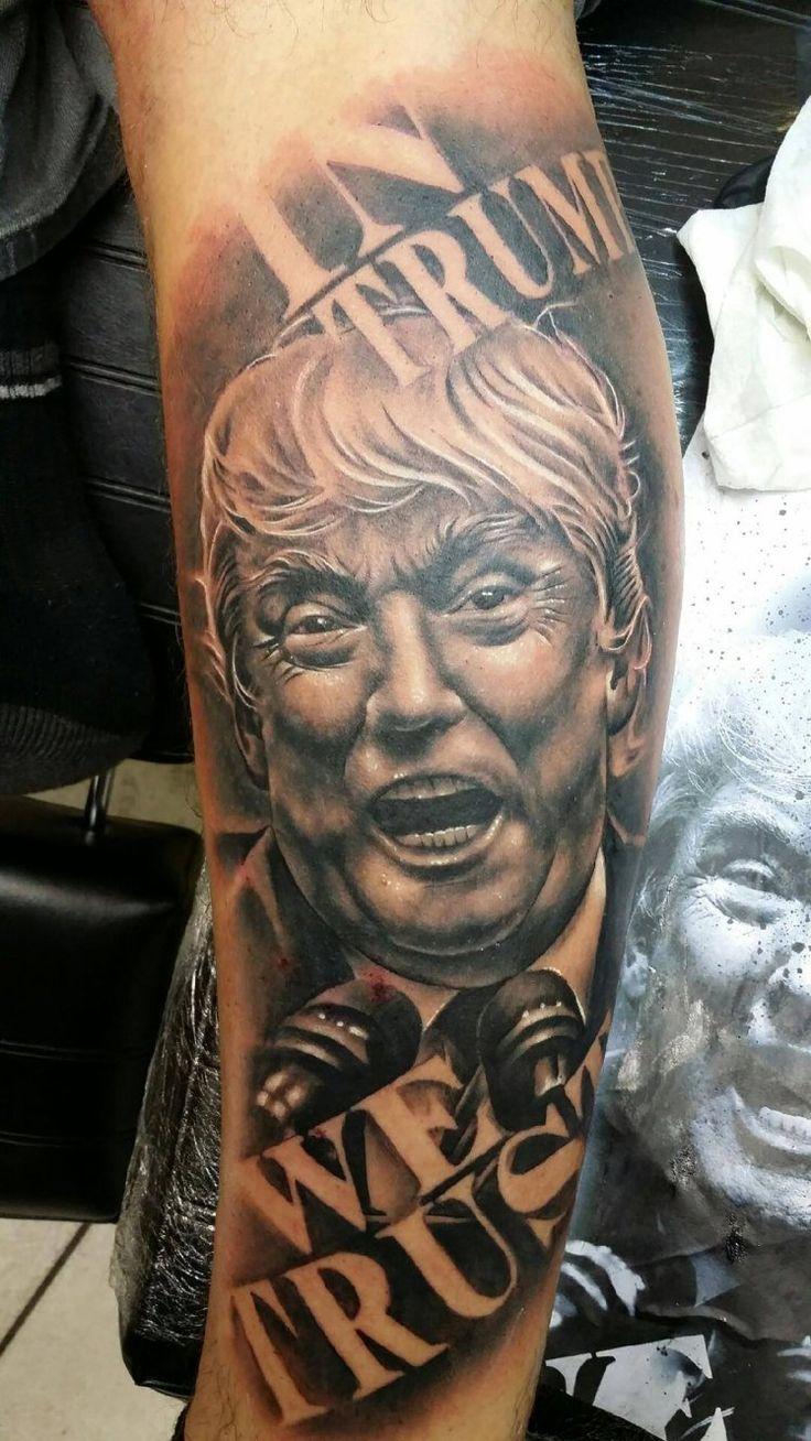 Controversial Art Trump Tattoo on Sleeve