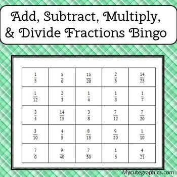Common Core: 5.NF.1, 5.NF.4b, 6.NS.1 Add, subtract, multiply and divide fractions bingo. 28 unique boards, 25 question cards with answers, and a  PPT file that can be used with any interactive whiteboard.
