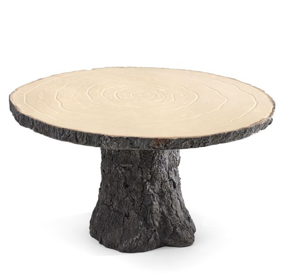This sturdy Rustic Log Wedding Cake Stand mimics the the shape and style of a real wood cake stand without the hassle of bark falling off and other cleanliness issues associated with using real wood.