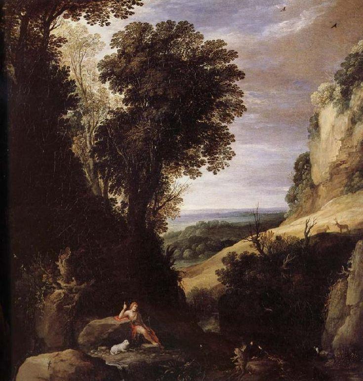 Фламандский художник Paul Bril (1554-1626).. Paysage avec Saint Jean-Baptiste