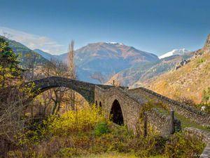 La Brigue, old Roman bridge on the French Riviera, France.