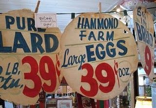 Vintage grocery sale signs