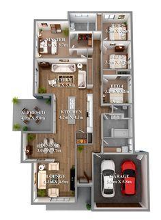 Plano de casa de cuatro habitaciones en un solo nivel.
