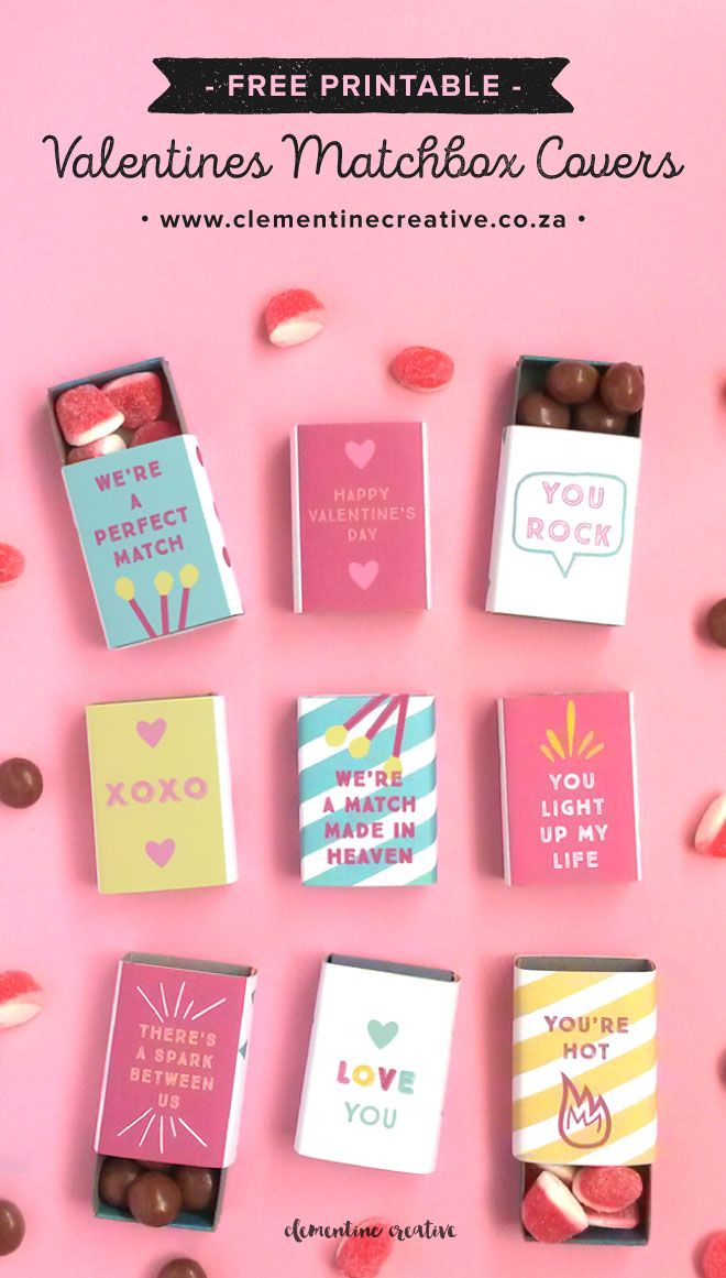 Download these free printable matchbox covers and make cute Valentine's Day gifts! You can use these for your special someone or your friends and co-workers. Just wrap the covers around a matchbox and place candy or tiny gifts in the box.