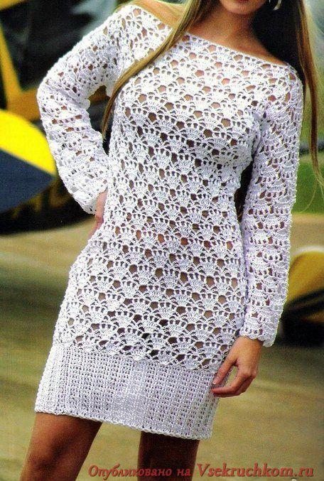 Ажурное платье с длинным рукавом