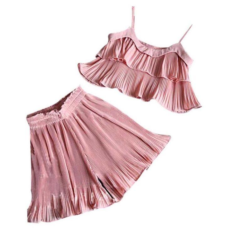 2017 summer girls set Kids Baby Girls Chiffon Vest Tank Tops Shirt  Skirt Shorts Set Clothes children clothes 2 piece set