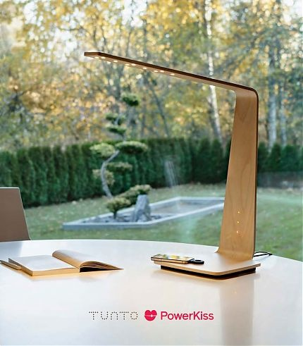 Coolest. Lamp. Ever. Sleek and stylish. LED touch lamp made of laminated wood.