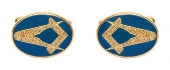Masonic Oval Blue Enamel Cufflinks - £25.99