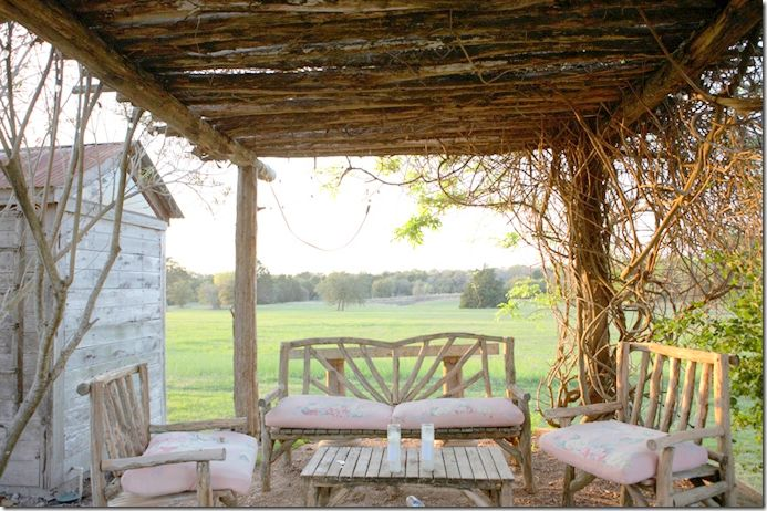 Behind the Ranger's Lounge.  Sit and sip your tea and take in the view of the property.