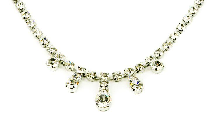 Vintage  1960s silver tone  rhinestone necklace by MariniJewellery on Etsy