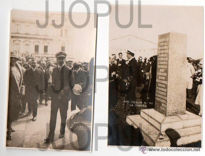 Fotografía antigua: 10 FOTOS DEL REY ALFONSO XIII Y LA REINA EN CORUÑA PARA INAUGURAR FERROCARRIL .1927. VILLAR. - Foto 4 - 52932701