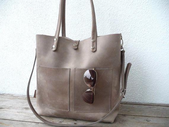 Leather tote, large leather tote, big leather tote, leather tote woman, leather tote women, modern laptop bag, Enie frontpocket -mud-grey!