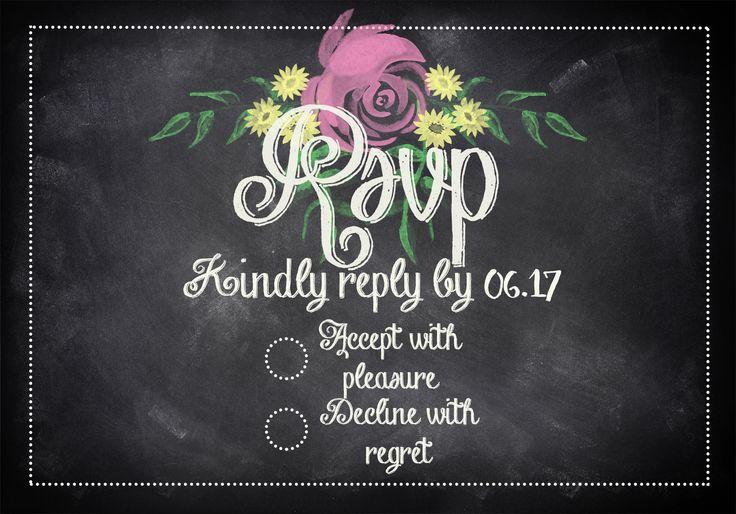 RSVP Card Blackboard Floral