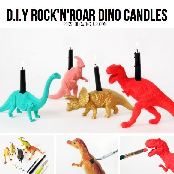 Awesome DIY Dino Candles from Blowing-up.com, featured in line-up of DIY Candle Ideas on ScrapHacker.com