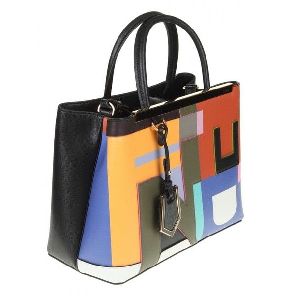 Fendi 2Jours Elite Black Leather Shopper Handbag $1624 Dimensions: 8.5 inches H x 10.5 inches W x 4.5 inches D Drop: 4 inches for handles, 23 inches for additional adjustable strap