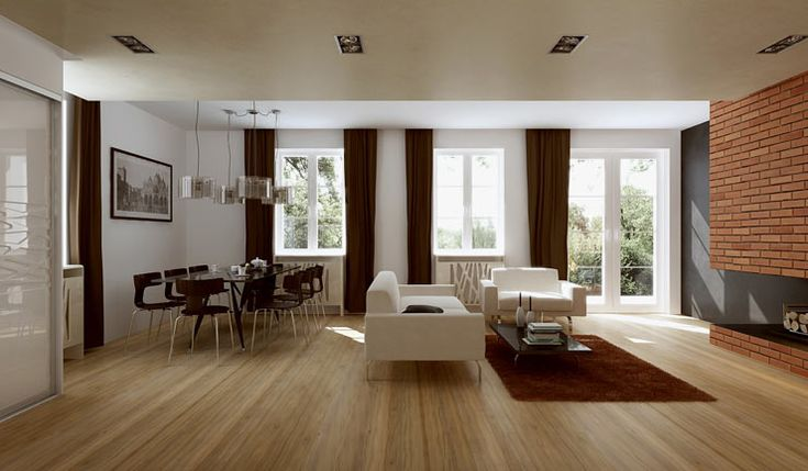 Przykładowa aranżacja salonu dla projektu ALEKSANDRIA BONA. Przestronne wnętrze przewiduje w salonie miejsce na stolik jadalniany. Kolorystyka skupia się wokół brązu, bieli i delikatnej szarości.