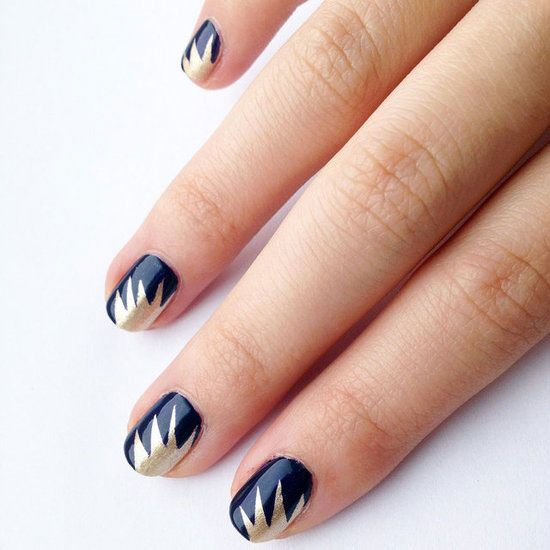 Learn This Gorgeous Gold-Burst Nail Art Technique