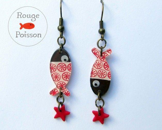 Pendentifs d'oreilles, Boucles d'oreilles Poisson étoile est une création orginale de RougePoisson sur DaWanda