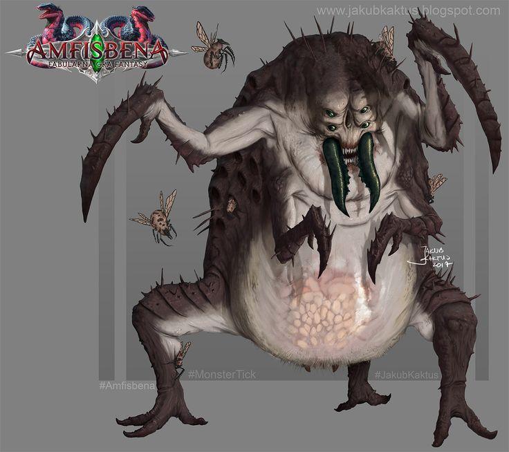 Monster Tick for Amfisbena RPG, James 'Kaktus' Balewicz on ArtStation at https://www.artstation.com/artwork/g3WA8