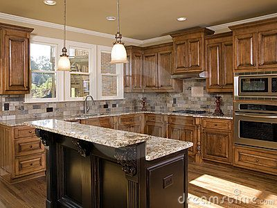 Kitchen Designs With 2 Level Islands Photos Luxury Kitchen Two Tier Island Royalty Free Stock